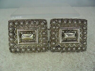 19th Century Dutch Solid Silver Wirework Handmade Belt Buckle