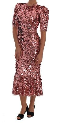 NEW $4800 DOLCE & GABBANA Dress Pink Sequined Sheath Knee Gown IT40 / US6 / S