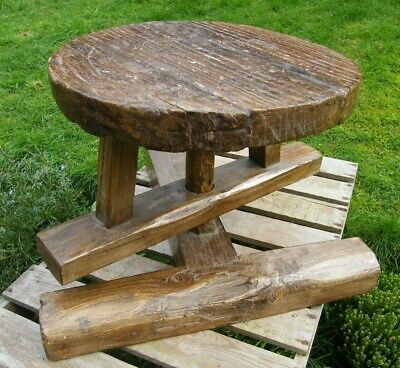 RARE FRENCH CHESTNUT WOODEN RUSTIC SWIVEL MILKING STOOL  DISPLAY STAND 18thc