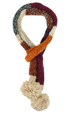 Colorblock Marl Pom Pom Winter Fashion Scarf (One Size, Ivory Multi)