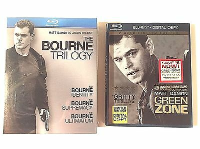 NEW The Bourne Trilogy (Blu-ray Disc, 2010, 3-Disc Set)+ GREEN ZONE Blu-Ray used