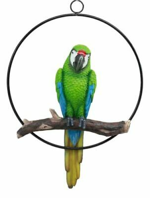 "EBROS Green Scarlet Macaw Parrot Perching on Branch Hanging Home Decor 13.5""H"