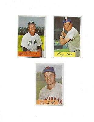 Lot Of 3 Vintage 1954 Bowman Baseball Cards Average Condition Vg