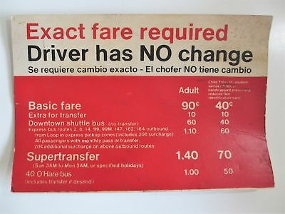 VINTAGE CHICAGO TRANSIT CTA Bus Sign Exact Fare Driver No