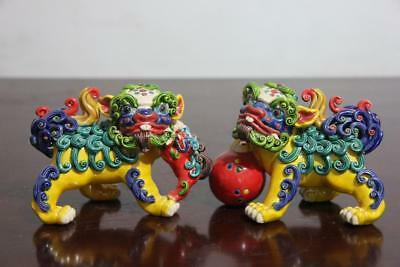 FengShui WuCai pottery porcelain Evil Guardian Lion Foo Fu Dog Kilin Statue Pair