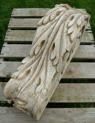LARGE RECLAIMED ANTIQUE CARVED OAK WOODEN BRACKET CORBEL  19c