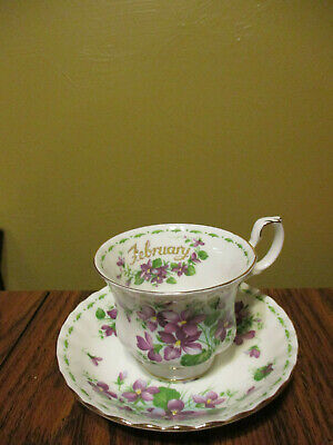 """Vtgroyal Albert """"february"""" Flower Of The Month """"violets"""" Bone China Cup & Saucer"""