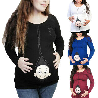 1-Maternity Wear Baby Printed Long Sleeve Cute Top Funny T-Shirt Pregnant Women