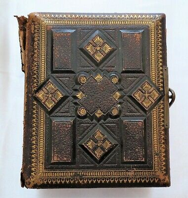 """Antique Victorian Leather Embossed Photo Album Gothic 6 1/2"""" by 5 1/4"""" Latches"""