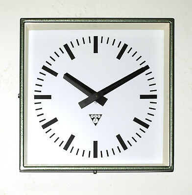 metal square wall clock PRAGOTRON - vintage loft industrial - factory green