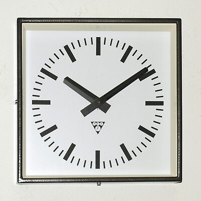 metal square wall clock PRAGOTRON - vintage loft industrial - brown-black