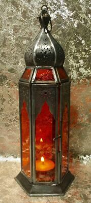 Moroccan Style Lantern Brass Antique Red Glass Tea Light Candle Holder
