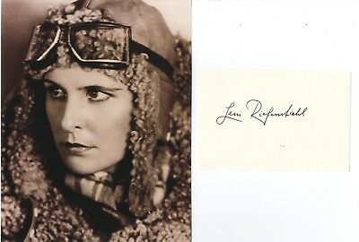 Leni Riefenstahl - German Film Director and Actress - Hand Signed White Card.