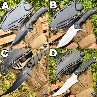 "9"" Tactical Hunting Fixed Blade Survival Camping Knife Full Tang w/ Hard Sheath"