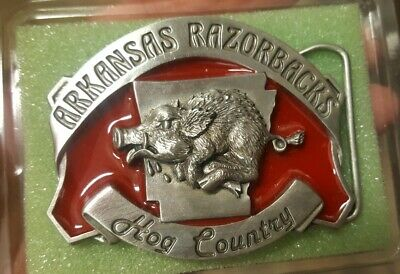 Old Vintage Inlaid Enamel Arkansas Razorbacks Hog Brass Belt Buckle