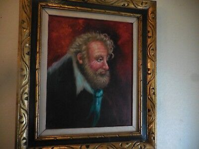 Oil on canvas Impressionist Painting of Old Bearded Man Signed G Scotti
