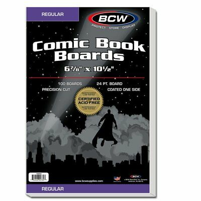 100 BCW Regular Comic Backing Boards 6 7/8 x 10 1/2 & 100 RESEALABLE Silver Bags