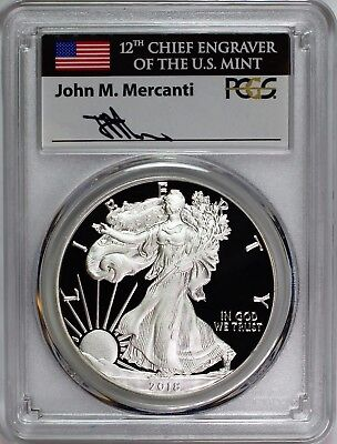 2018 S $1 Proof Silver Eagle PCGS PR70 First Day of Issue Mercanti Flag Label