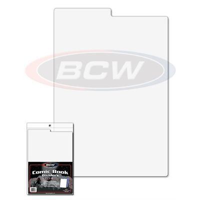 (200) Bcw Comic Book Dividers - 7 1/4 X 10 3/4 - Tabbed - White Plastic 1-Cd