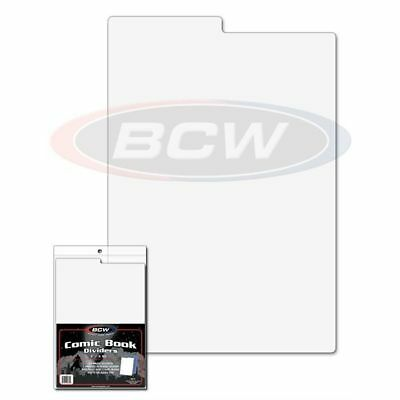 (150) Bcw Comic Book Dividers - 7 1/4 X 10 3/4 - Tabbed - White Plastic 1-Cd
