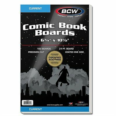 100 BCW Current Modern Age Comic RESEALABLE Poly Bags/Sleeves and Boards