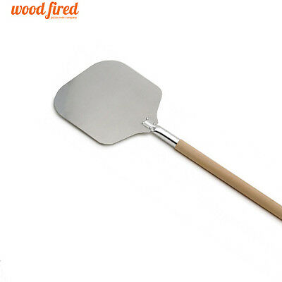 """31"""" pizza oven peel 9"""" x 9"""" Aluminium head with wooden handle (wood fired)"""