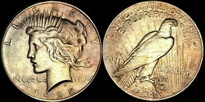 1925 Peace Silver One Dollar Color Toned Coin In High Grade !!!