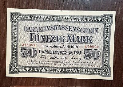 50 Mark 1918, Germany, Latvia, Poland, Lithuania, Kowno, Darlehnskasse Ost,