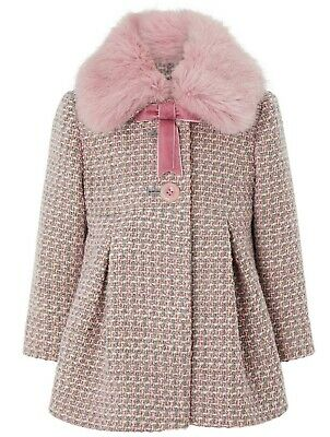 Monsoon Girls Children's Phoebe Tweed Winter Faux Fur Coat Jacket 1 To 13 YRS