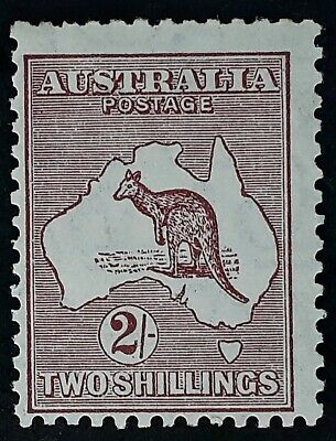 Rare 1929- Australia 2/- Maroon Kangaroo Stamp Small Multiple Watermark Mint