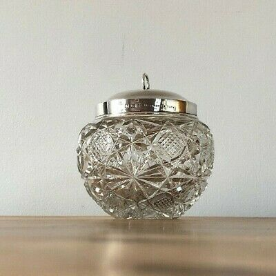 Sugar Bowl Mappin & Webb Crystal Glass Sterling Silver Lid c1903