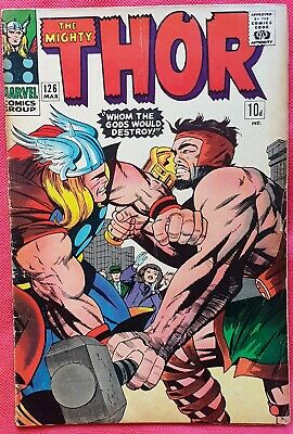 Thor 126 Marvel Silver Age 1967 1st Issue Epic Thor vs Hercules battle vg+
