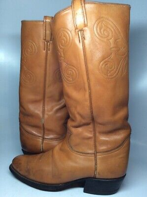 36f3ef04522cf VTG BLACK LABEL TONY LAMA X-Tall Brown Leather COWBOY Boots Size 10 ...