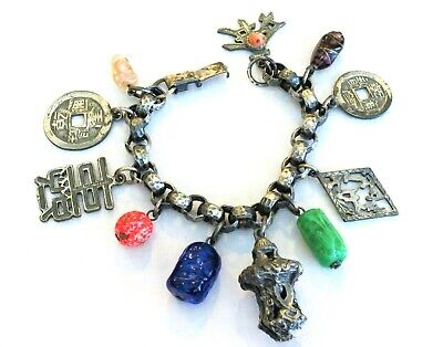 Old Chinese Export Antique Charm Bracelet Silver Tone Metal Art Glass Charms