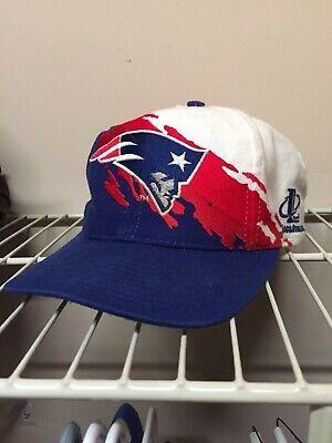 62a9db69 Vintage New England Patriots Splash Snapback Hat, Logo Athletic, Rare 90's