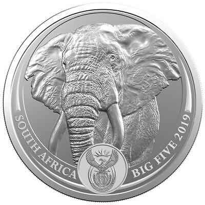 ELEPHANT  Big Five 1 oz .999 Silver Coin 5 Rand South Africa 2019, BU
