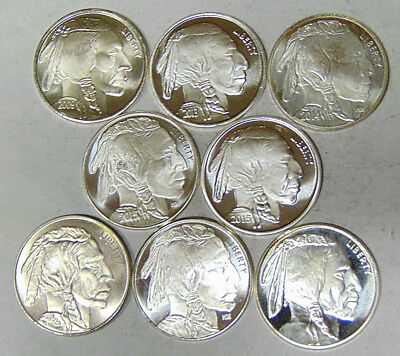Lot of 8 Indian Buffalo Nickel Style 1 oz .999 Fine Silver Rounds 2009-2015