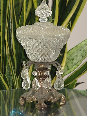 """Vintage Heavy Cut Glass / Crystal Bowl & Lid w/ Prisms Gold Bronze Stand 13"""" H"""