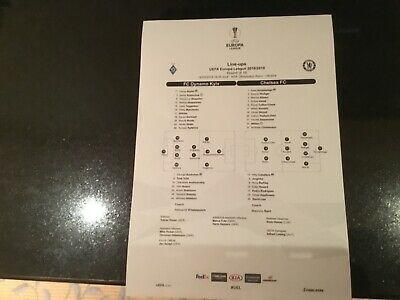 Official teamsheet Dynamo Kiev v Chelsea 2019 Europa League