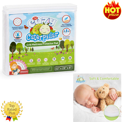Mattress Protector Pad Waterproof Bamboo Crib Cover Baby Bedding Topper Supply