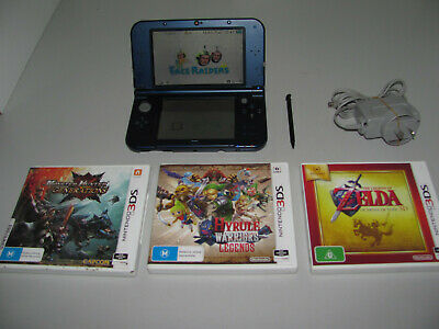 """New Nintendo 3DS XL Metallic Blue Console As New & 3 Games All In """"VGWO"""""""