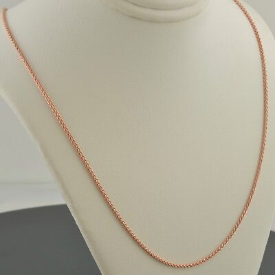 "14K Rose Gold Over .925 Sterling Silver 2.1Mm 18"",20"",22"",24"" Round Wheat Chain"