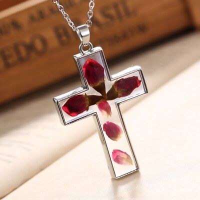 Womens Natural Real Dried Flower Cross Glass Pendant Necklace Chain Jewellery