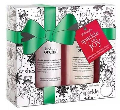 Philosophy SPARKLE Gift Set ICED ORCHID SNOWLACE Shampoo Shower Gel Bubble Bath