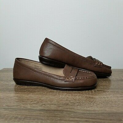d8957b31d86 Womens A2 Stitch N Turn Black Brown Penny Loafers Slip Ons By Aerosole Size  7.5