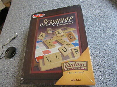 New SCRABBLE Vintage Game Collection WOODEN Bookshelf Wood Box 2009 SEALED