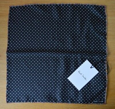 PAUL SMITH signature stripe black polka dot 100% silk pocket square handkerchief