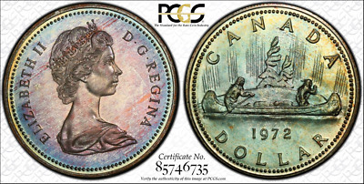 1972 Canada Silver Voyageur Dollar PCGS SP68 Teal Color Toned Coin ONLY 3 Higher