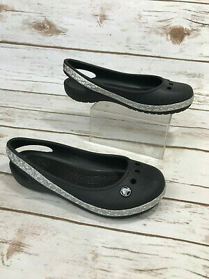 fdb84dd1c45b Crocs Genna II Girls 13 Flats Ballet Shoes Slingback Solid Black Silver  Hearts