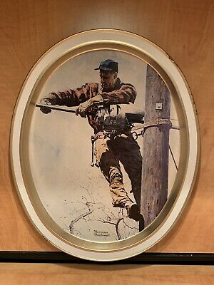 """Vintage Norman Rockwell & Bell Telephone """"The Lineman Tin Tray Picture Limited"""